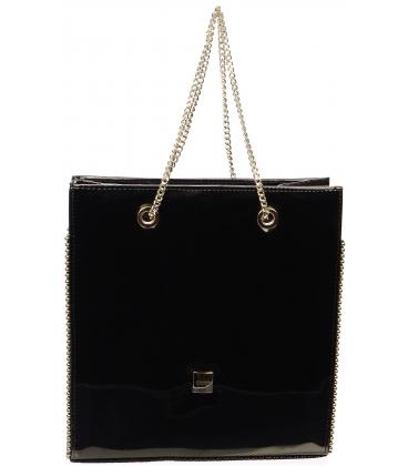 Čierna lakovaná vystužená  kabelka  S709 - Grosso