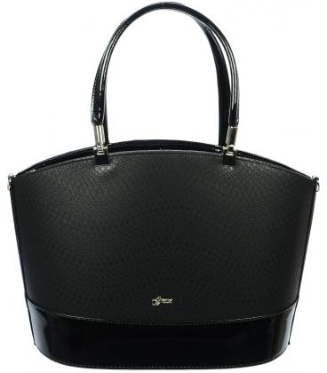Čierna elegantná kabelka so vzorom S693 - Grosso