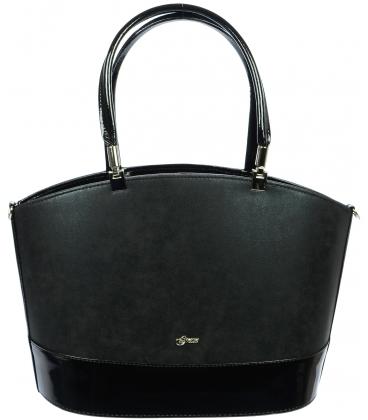 Čierna matno - lesklá kabelka S693 - Grosso