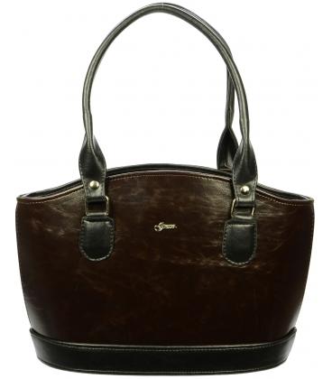 Hnedo-čierna vystužená kabelka S37 - Grosso