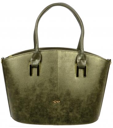 Zelená elegantná kabelka s odleskom S715 - Grosso