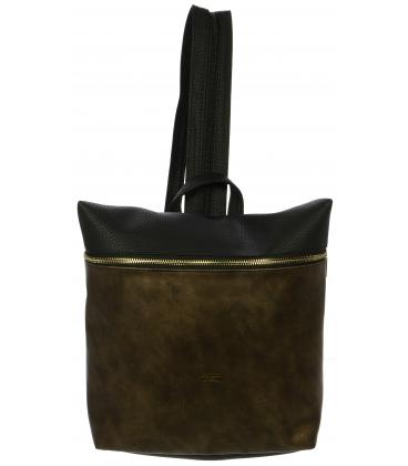 Hnedo-čierny crossbody batoh so zipsami na ramienkach M285 - Grosso