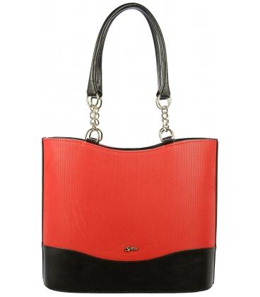 Červeno-čierna vysoká kabelka S656 - Grosso