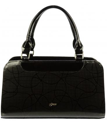 Čierna lakovaná kabelka s modernou potlačou S453 - Grosso