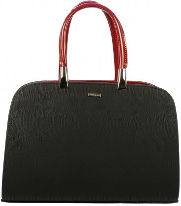 Čierna matná kabelka s červenými rúčkami S599 - Grosso