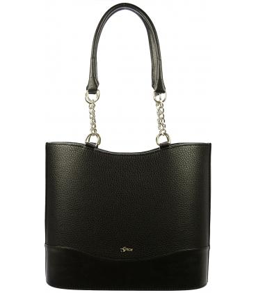 Čierna matná kabelka s retiazkami S656 - Grosso