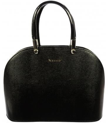 Čierna oblá kabelka s potlačou S606 - Grosso