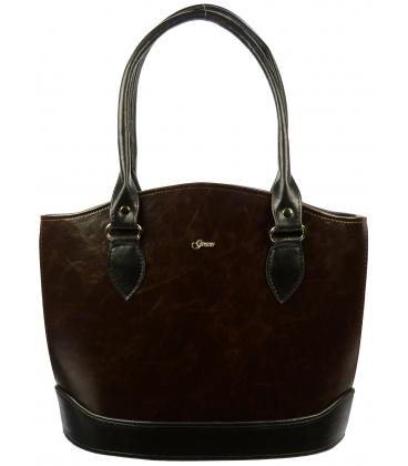Hnedo-čierna elegantná kabelka S55 - Grosso