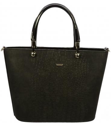 Čierna matná kabelka s kroko efektom S630 - Grosso
