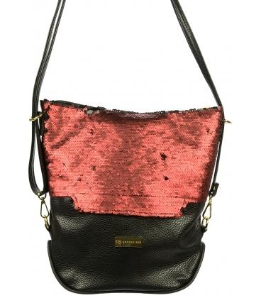 Čierno - červená kabelka s flitrami M209 - Grosso