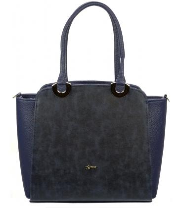 Modrá hranatá kabelka so zdobením S709 - Grosso