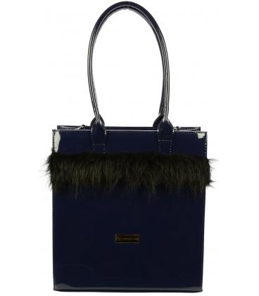 Modrá lakovaná kabelka s kožušinkou S722 - Grosso