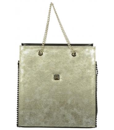 Zlato-čierna kabelka s lemom S709 - Grosso