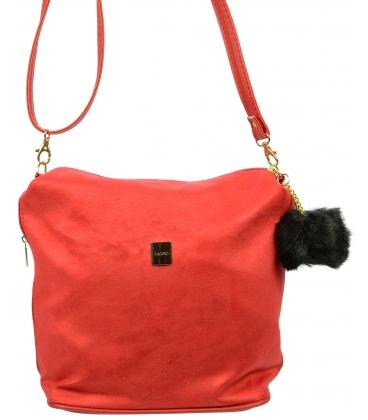 Červená crossbody kabelka s kožušinkou M207 - Grosso