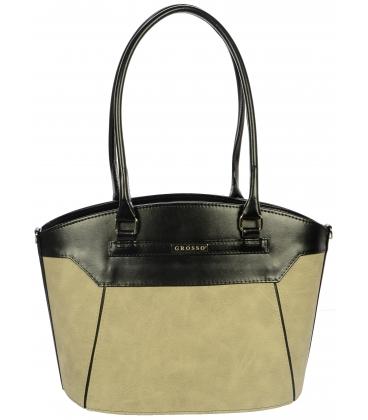 Béžovo-čierna kabelka cez rameno S720 - Grosso