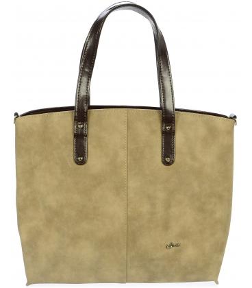 Béžovo-hnedá shopper kabelka S612 - Grosso