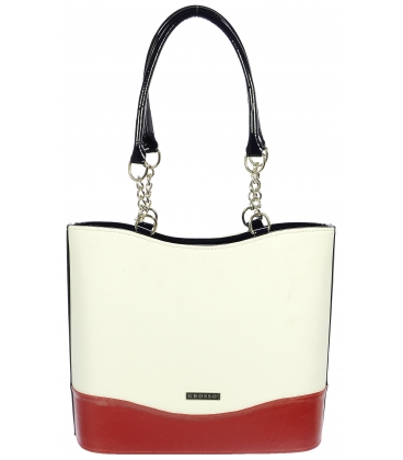 Bílo-modro-červená vyztužená kabelka S656 - Grosso