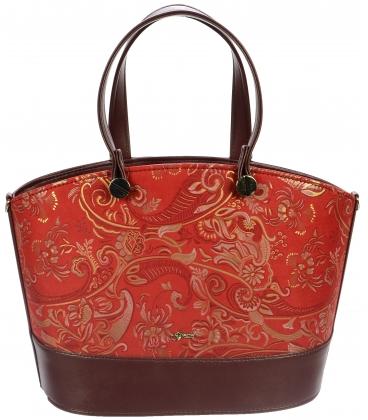 Červená kabelka s etnickým vzorom S693 - Grosso