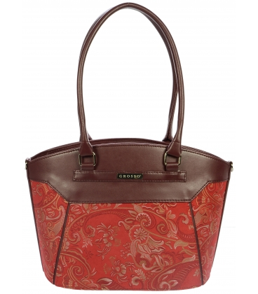 Červená kabelka s etnickým vzorom S720 - Grosso