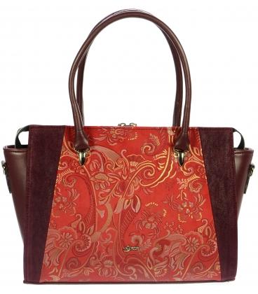 Červeno-bordó kabelka s etnickým vzorem S718 - Grosso