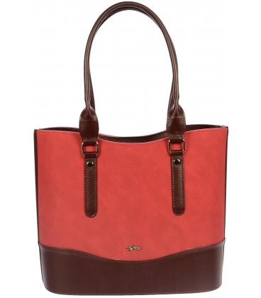 Červeno-bordó vyztužená kabelka S711 - Grosso