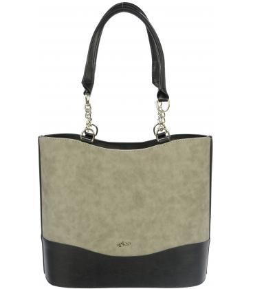 Sivo-čierna vysoká kabelka s vystužením S656 - Grosso