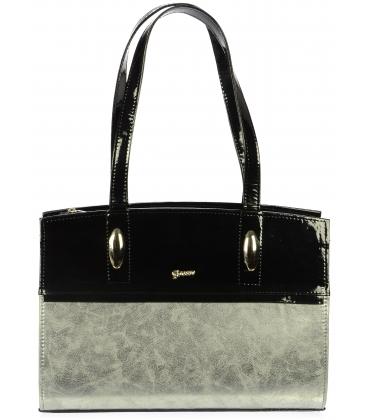 Stříbrno-černá hranatá kabelka S550 - Grosso