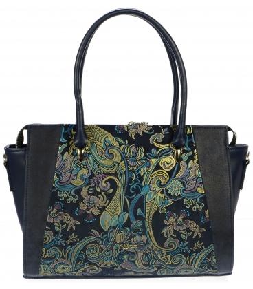Modrá široká kabelka s etnickým vzorem S718 - Grosso