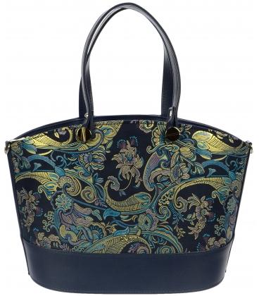Modrá elegantná kabelka s etnickým vzorom S693 - Grosso
