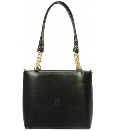 Černá elegantní kabelka s řetízkem S725 - Grosso