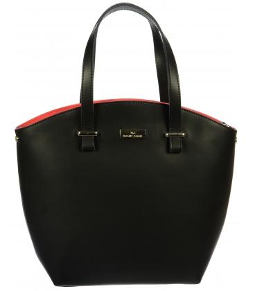 Kožená čierno-červená kabelka K728 - Grosso