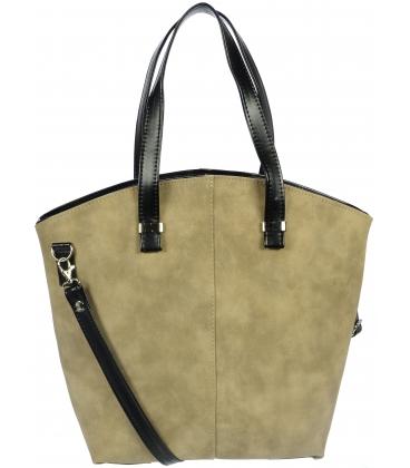 Béžovo-čierna kabelka S728 - Grosso