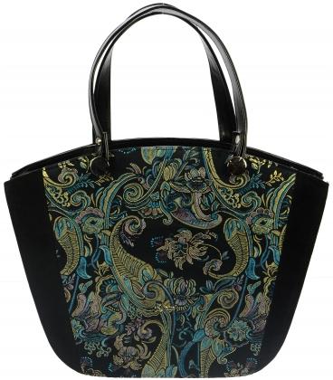 Čierno-modrá kabelka s etnickým vzorom S729 - Grosso