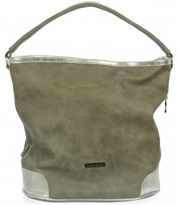 Písčito-hnědá mechová kabelka S730 - Grosso