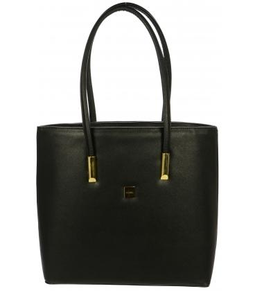 Čierna elegantná kabelka s dlhými rúčkami S732 - Grosso