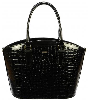 Černá elegantní kabelka s kroko efektem S505 - Grosso