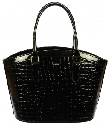 Čierna elegantná kabelka s kroko efektom S505 - Grosso