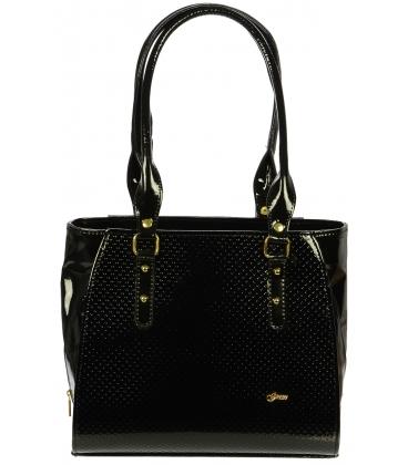 Černá lakovaná kabelka s puntíky S489 - Grosso