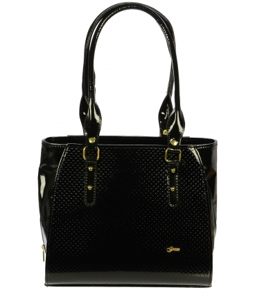 Čierna lakovaná kabelka s bodkami S489 - Grosso