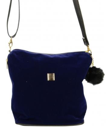 Modrá crossbody taška s kožušinkou M207 - Grosso
