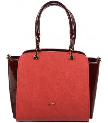 Červeno-bordová elegantná kabelka S682 - Grosso