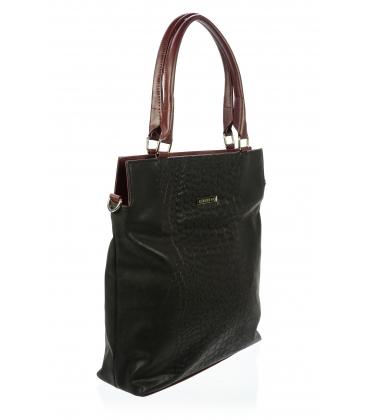 Čierno-bordová kabelka s kroko motívom S602-Grosso