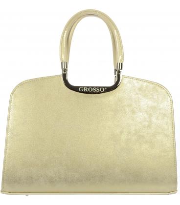 Béžová kabelka so zlatým pretieraním  V18SM001BEI   - Grosso