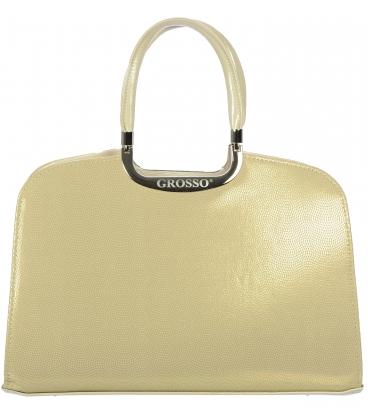 Béžová kabelka so zlatou štruktúrou V18SM001GLD  - Grosso