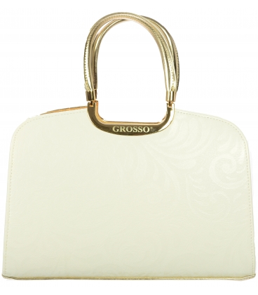 Bielo zlatá kabelka V18SM001WHT   - Grosso