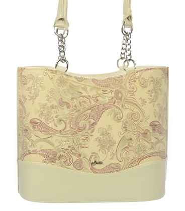 Béžová vystužená kabelka s etnickým vzorom V18ETN003BEI - Grosso