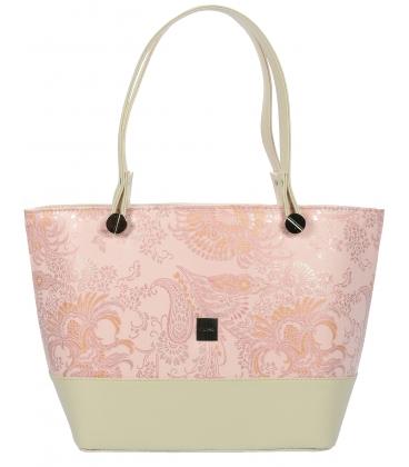 Béžová kabelka s etnickým vzorom V18ETN004BEI- Grosso