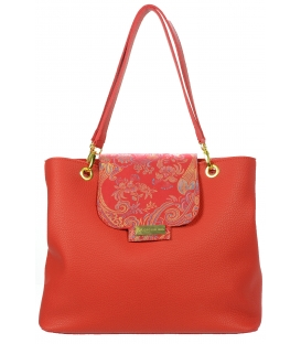 Červená kabelka s etnickým vzorom V18ETN005RED - Grosso