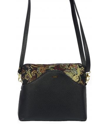 Čierna obdĺžniková crossbody kabelka s etnickou potlačou C18ETN010WHT  - Grosso