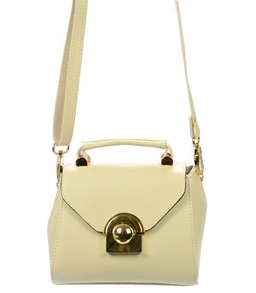 Béžová malá crossbody kabelka so zlatým zapínaním C18SM013BEI  - Grosso